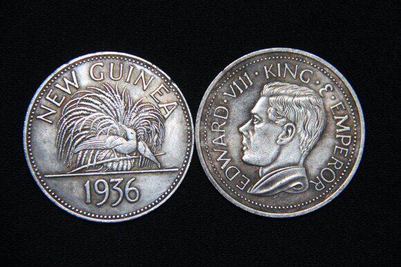 5 марок 1936 года Новая Гвинея Эдвард 8