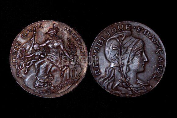 10 сантим 1897 года Франция медь