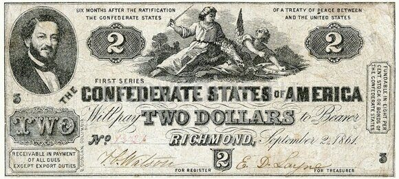 2 доллара 1861 года Richmond, Virginia